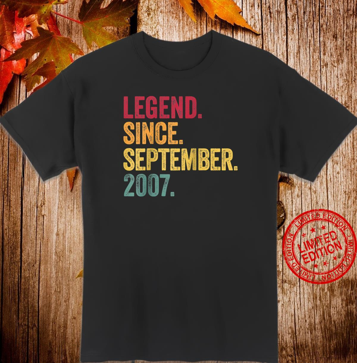 Legend Since September 2007 13 Years Old 13th Birthday Shirt
