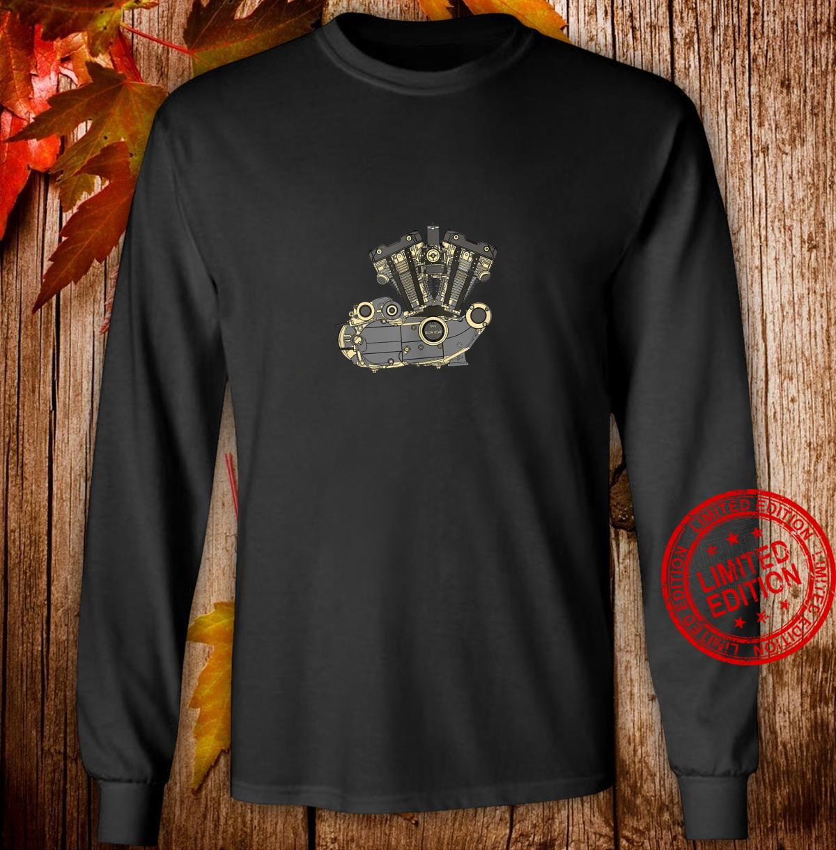 Legendary American 1976 Iron Head Motorcycle Engine Shirt long sleeved