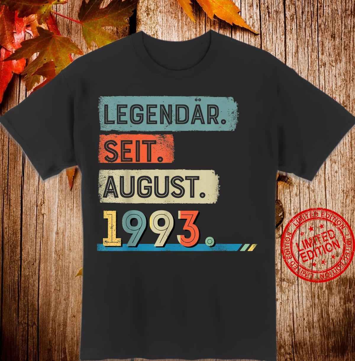 Legendär Seit August 1993 Jahrgang 27 Jahre Geburstag Shirt