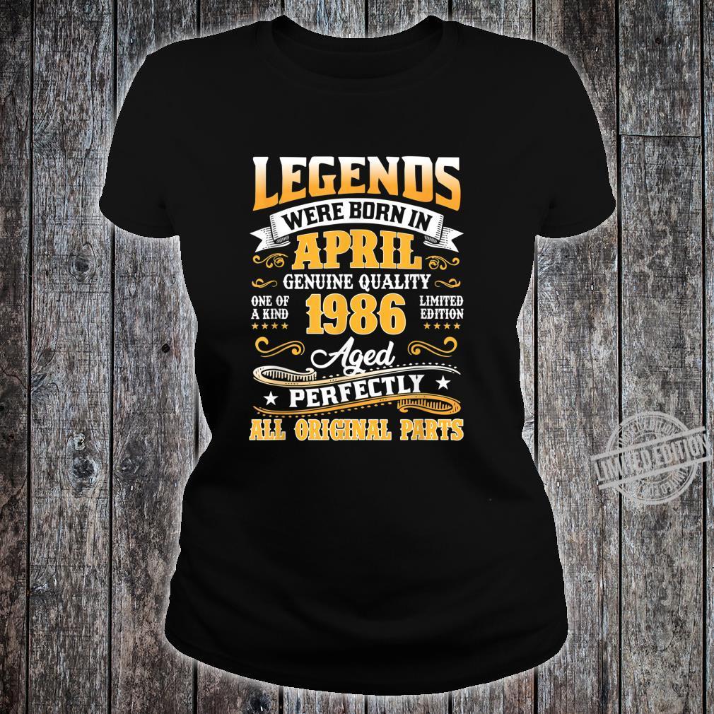 Legends Were Born In April 1986 34th Birthday Shirt ladies tee