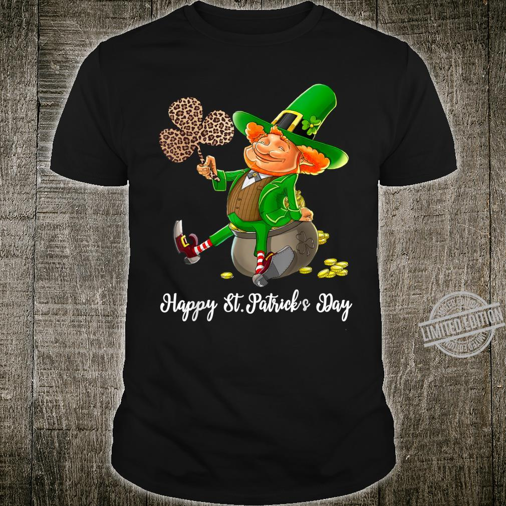 Leprechaun Holding Shamrock Leopard Happy St Patrick's Day Shirt