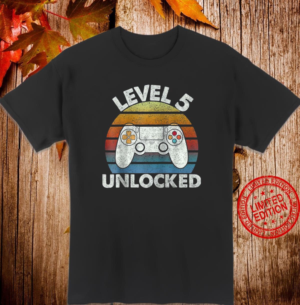 Level 5 Unlocked Video Game 5th Birthday Gamer Boys Shirt