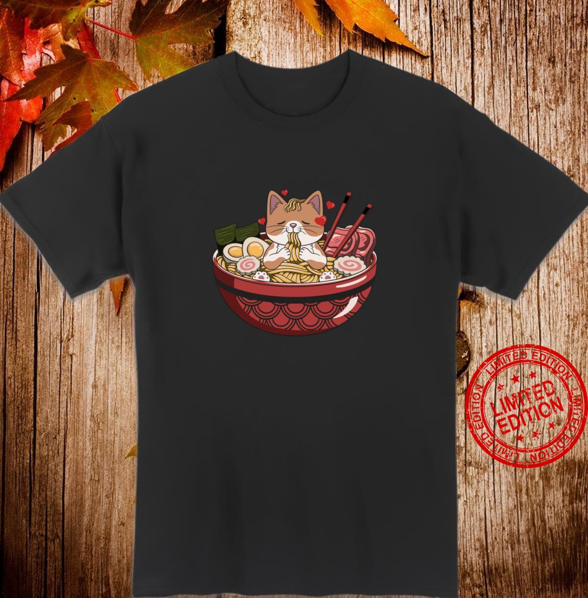 Love Cat Ramen Japanese Noodles Neko Kawaii Anime Kitten Shirt