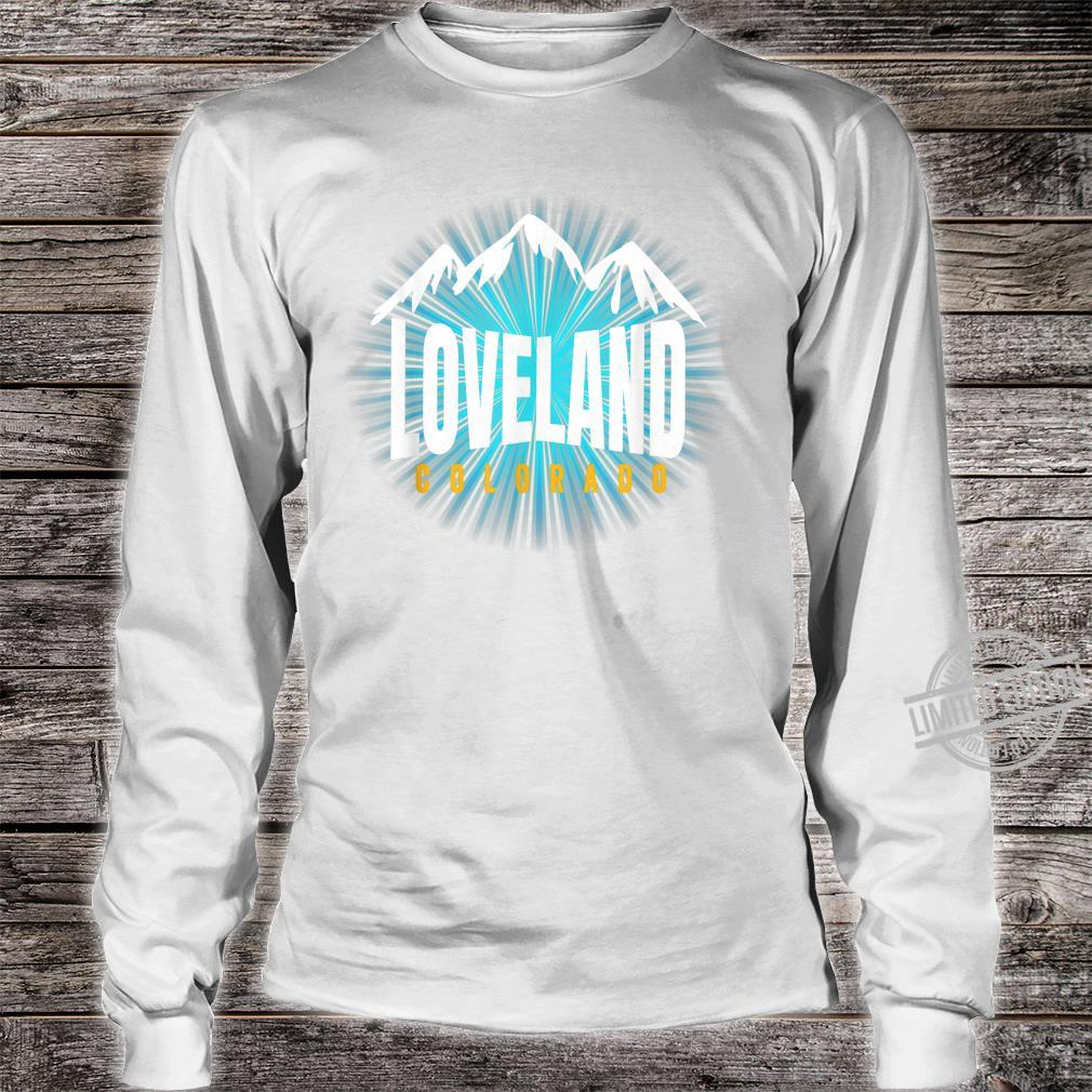 Loveland CO Sky Colorado Blue Skyline Mountain Ski Snowboard Shirt long sleeved
