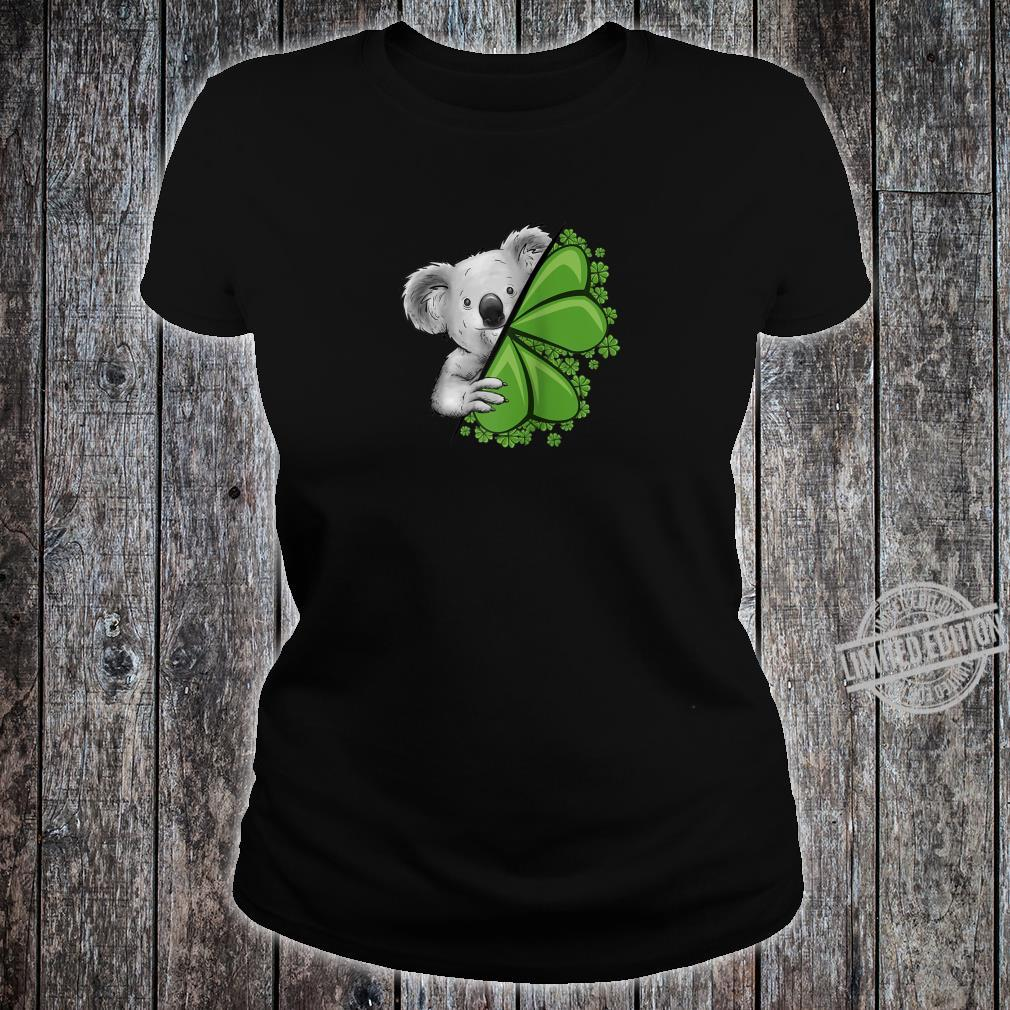 Lucky Irish Koala Clover & Shamrocks St Pattys Day Shirt ladies tee