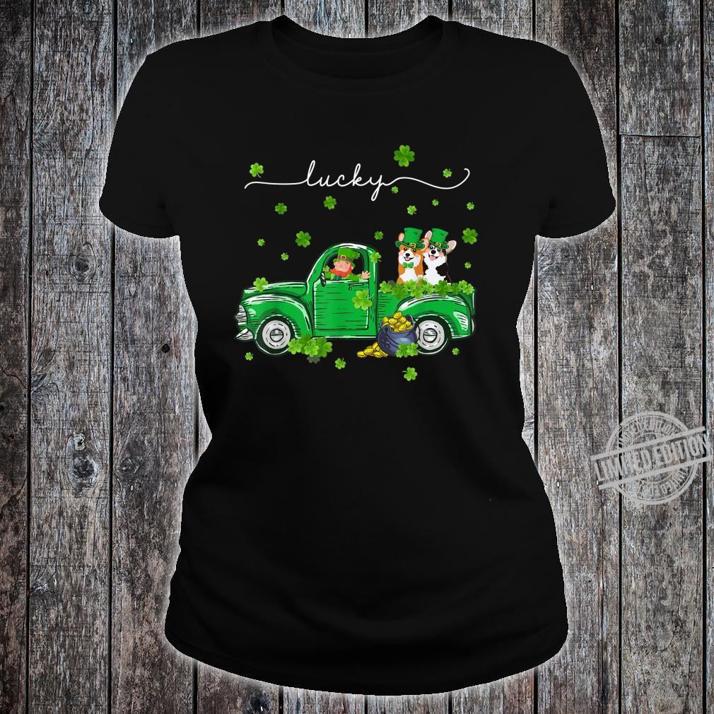 Lucky Leprechaun Corgi Truck St Patrick's Day Shirt ladies tee