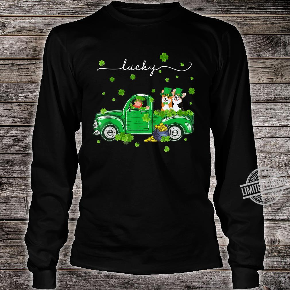 Lucky Leprechaun Corgi Truck St Patrick's Day Shirt long sleeved