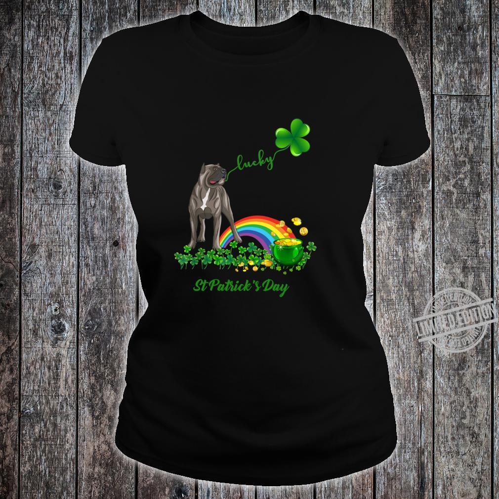 Lucky Saint Cane Corso Dog Shamrock St Patrick Day Shirt ladies tee