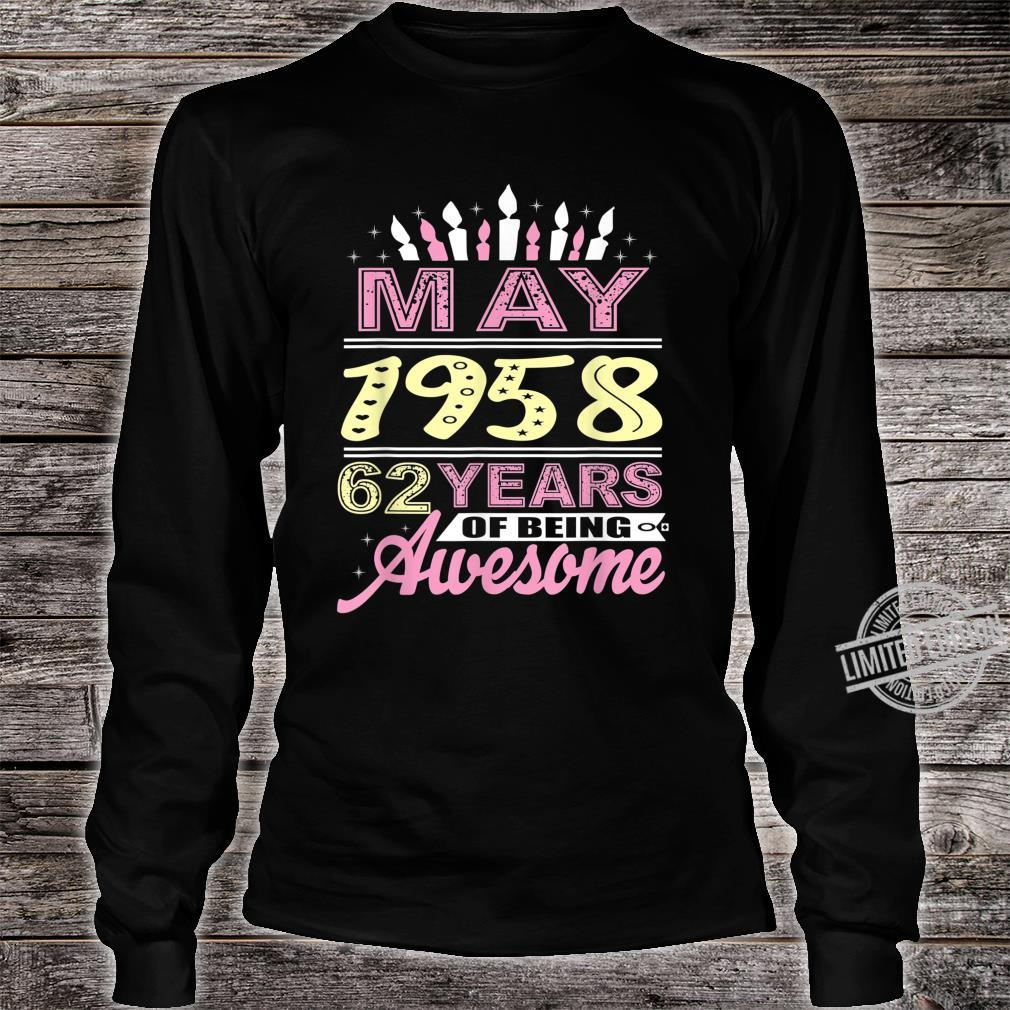May 1958 62 Years Old 62nd Birthday Candle Party Shirt long sleeved