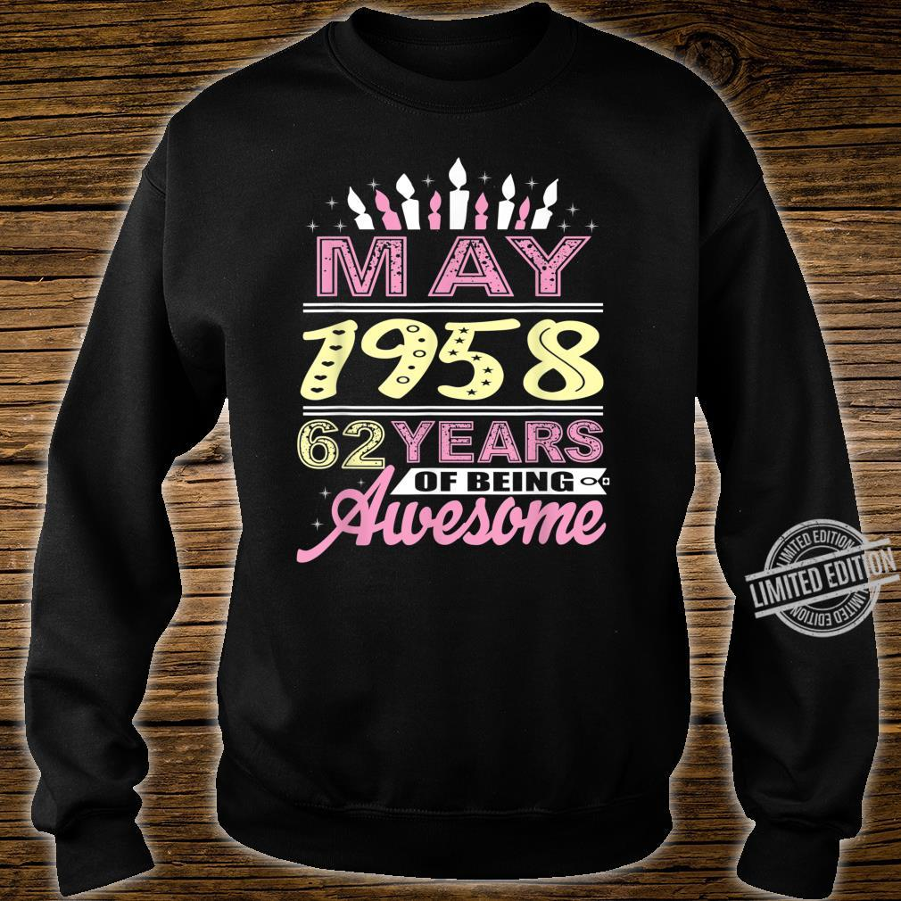 May 1958 62 Years Old 62nd Birthday Candle Party Shirt sweater
