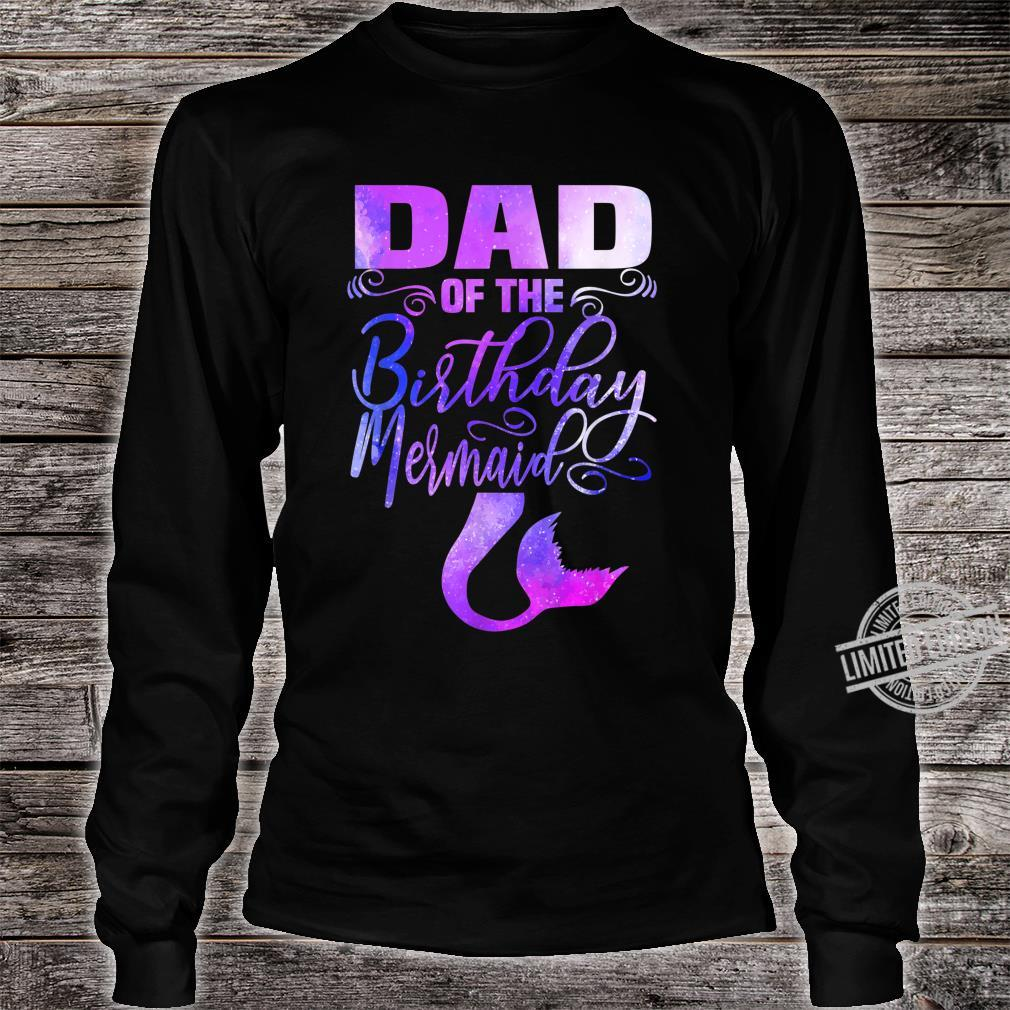 Mens Dad of The Birthday Mermaid Matching Party Outfits Shirt long sleeved