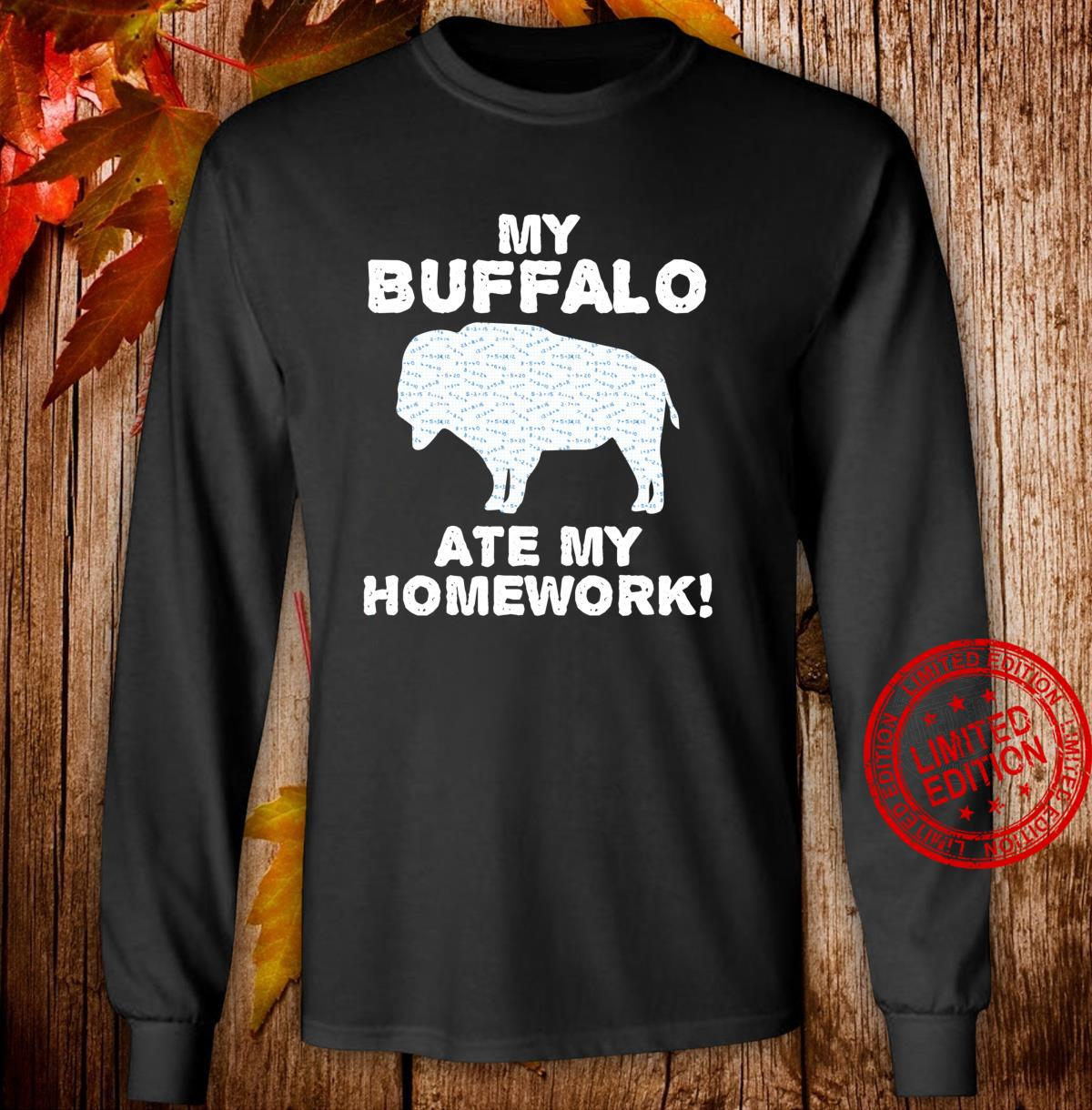 My Buffalo Ate My Homework Tamaraw Bison Back To School Kid Shirt long sleeved