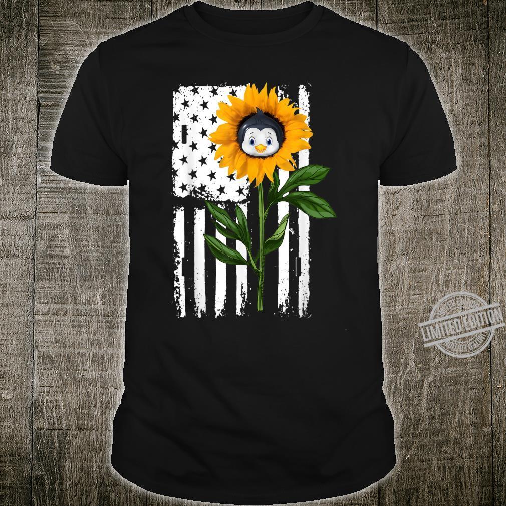 Penguin Sunflower Flag Hippie Penguin Dog Shirt