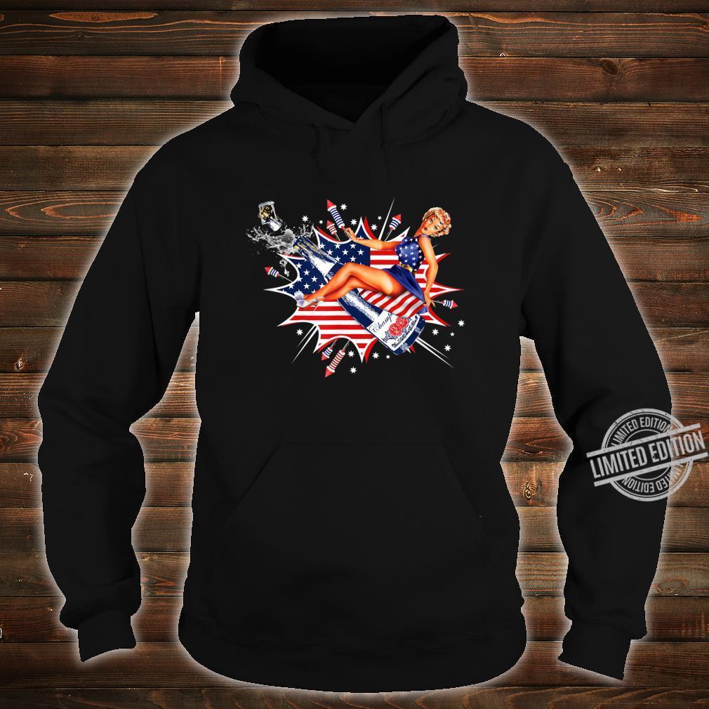 Pin Up Girl Stars Stripes Fireworks American Flag 4th July Shirt hoodie