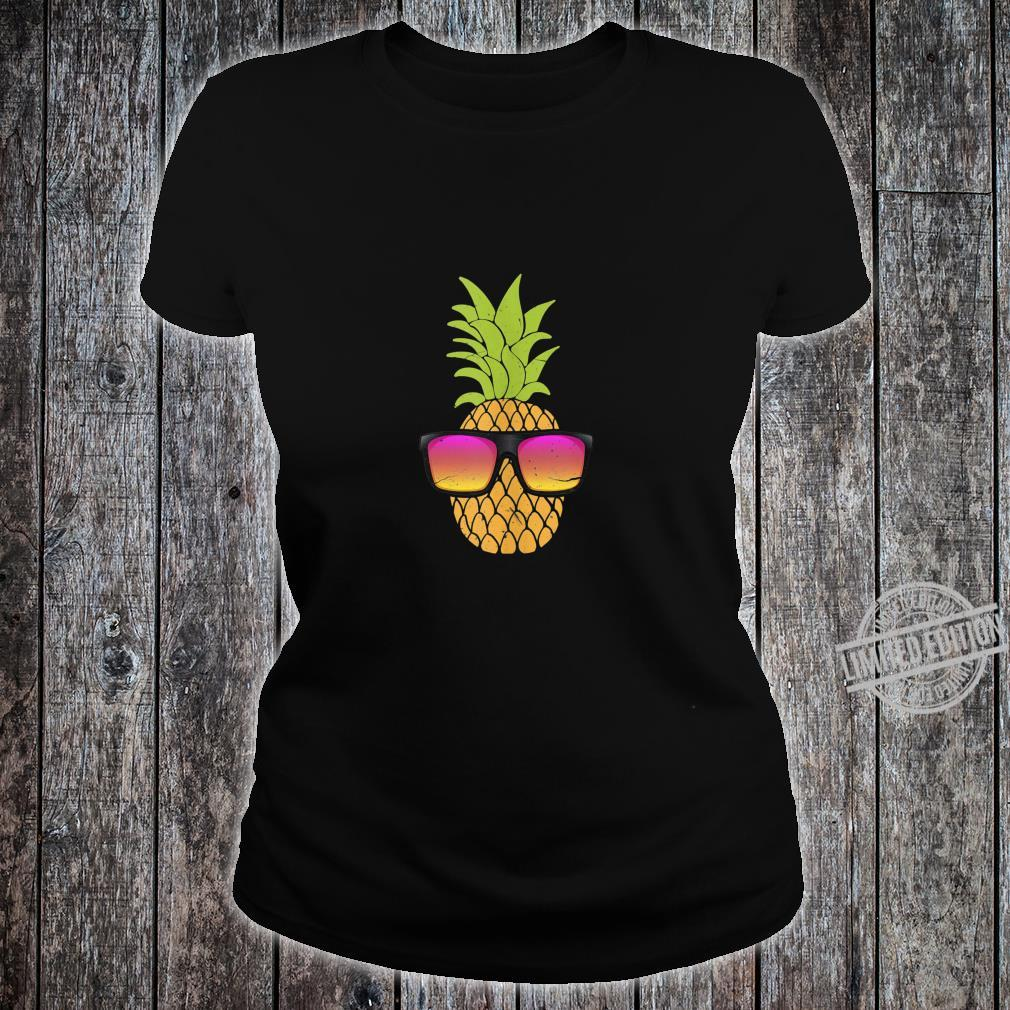 Pineapple With Sunglasses Hawaiian Summer Beach Party Shirt ladies tee