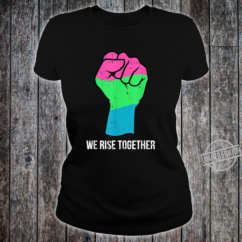 Polysexual Flag LGBTQ We Rise Together Cool LGBT Ally Shirt ladies tee