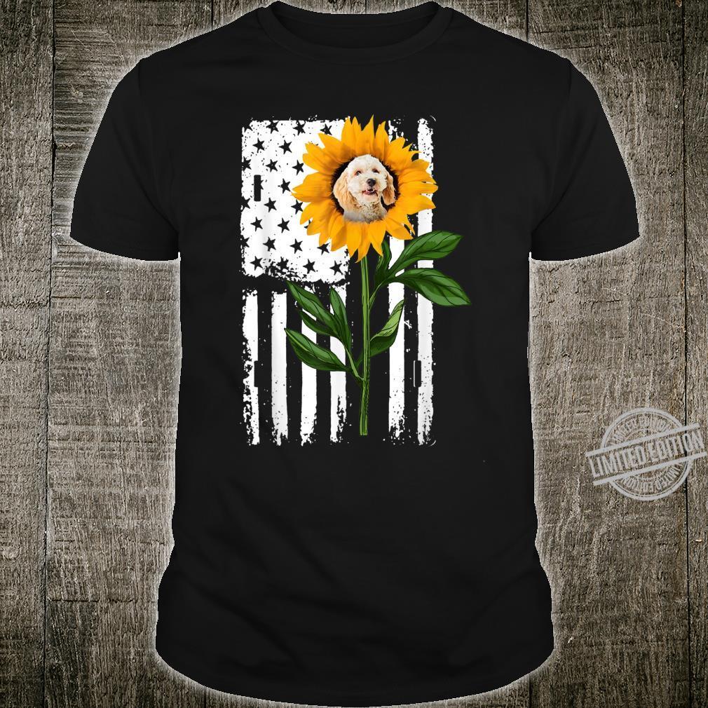 Poodle Crossbreed Sunflower Flag Hippie Poodle Crossbreed Shirt
