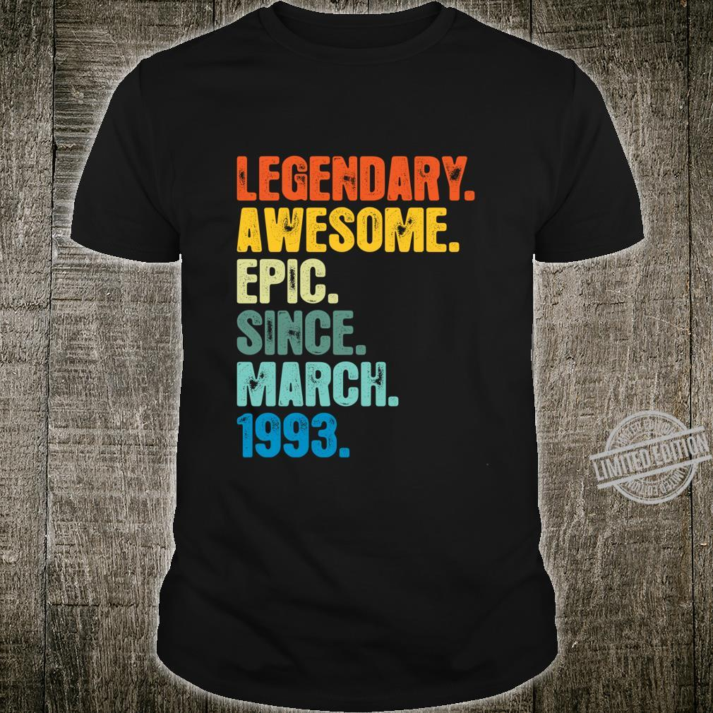 Retro Legendary Since March 1993 27 Years Old Shirt