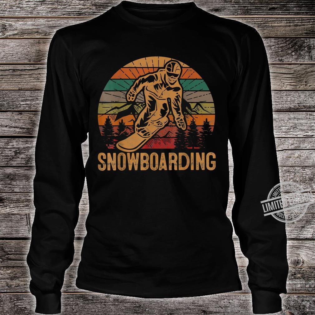 Retro Snowboarding Sunset Snowboard Winter Snowboarder Shirt long sleeved