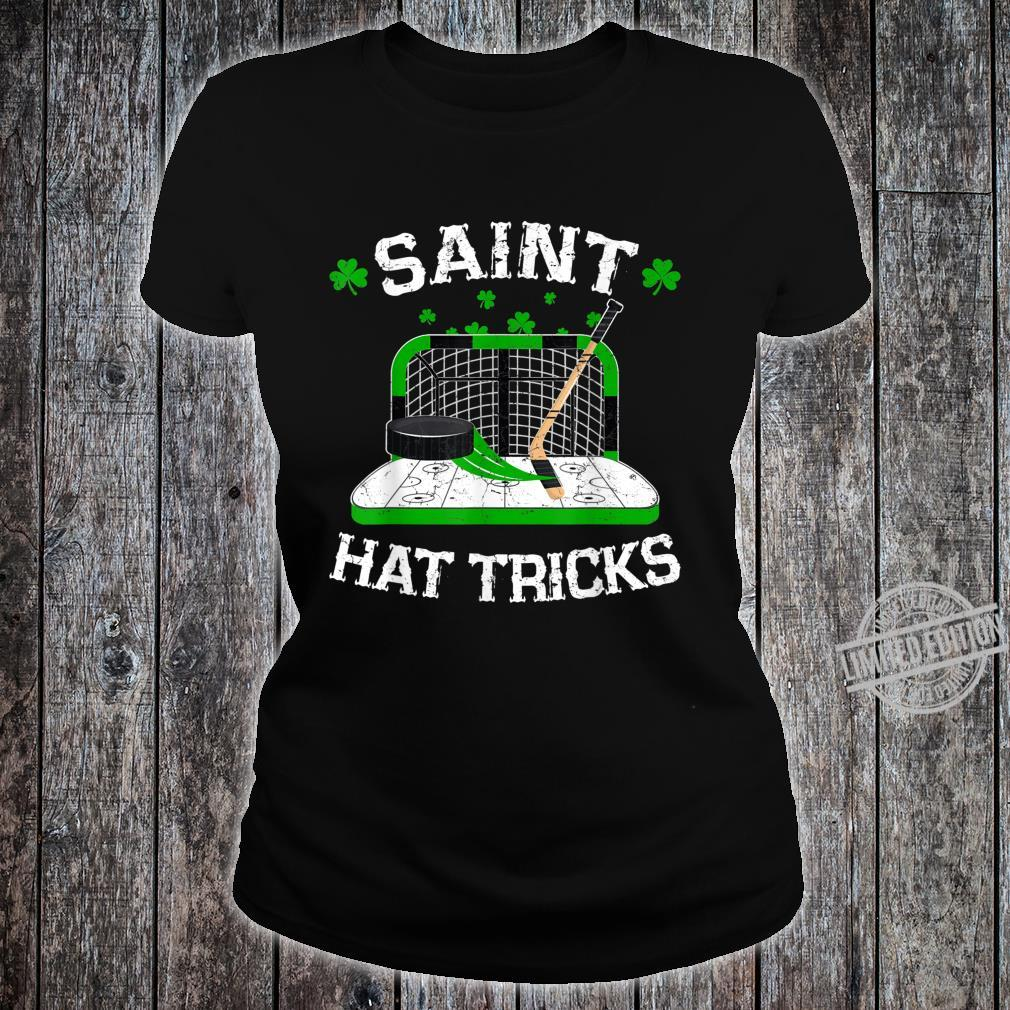 Saint Hat Tricks Hockey Shirt Hockey St. Patrick's Day Shirt ladies tee