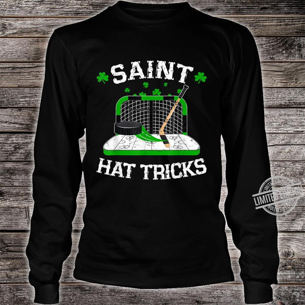 Saint Hat Tricks Hockey Shirt Hockey St. Patrick's Day Shirt long sleeved