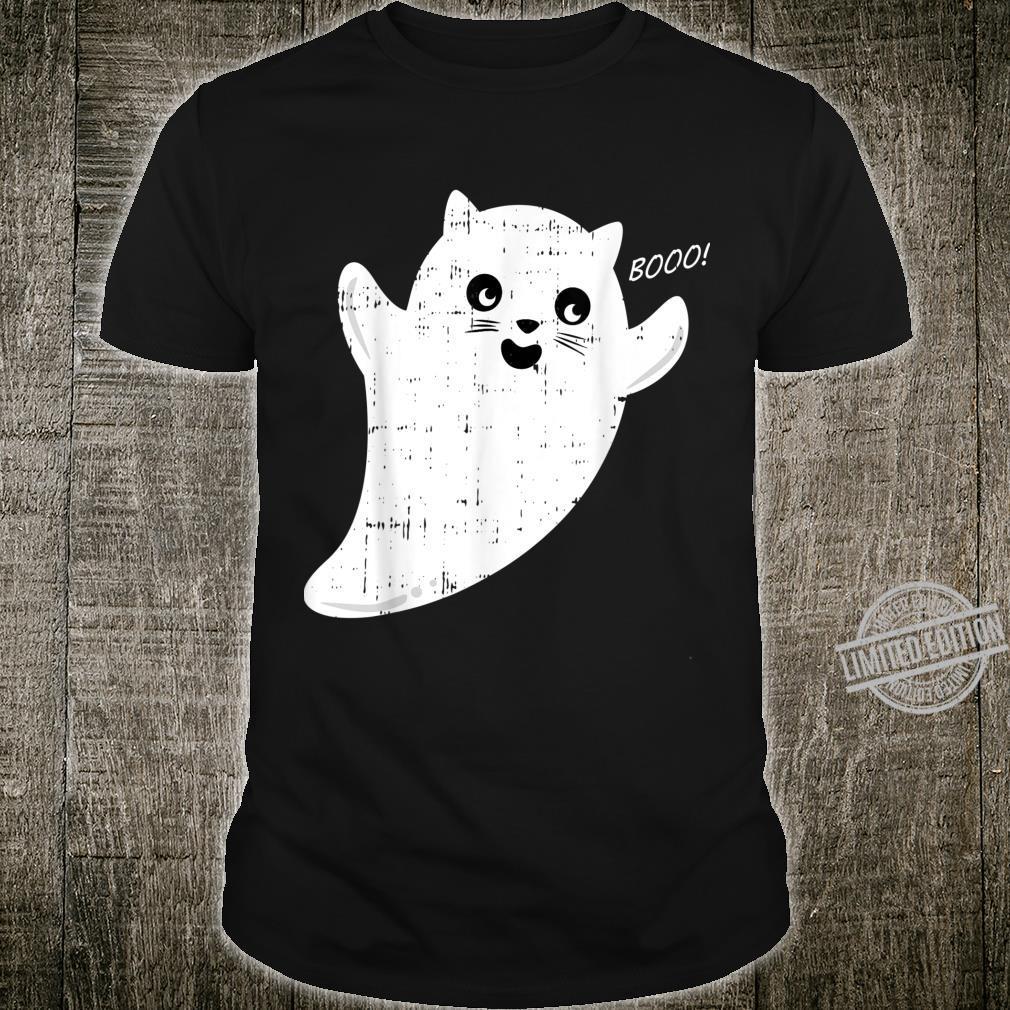 Scary Cute Ghost Cat Costume Easy Animal Halloween Shirt