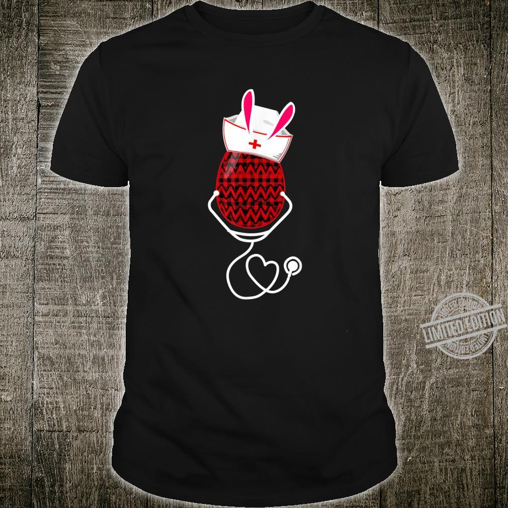 Stethoscope Nurse Easter Bunny Egg Red Plaid Costume Shirt