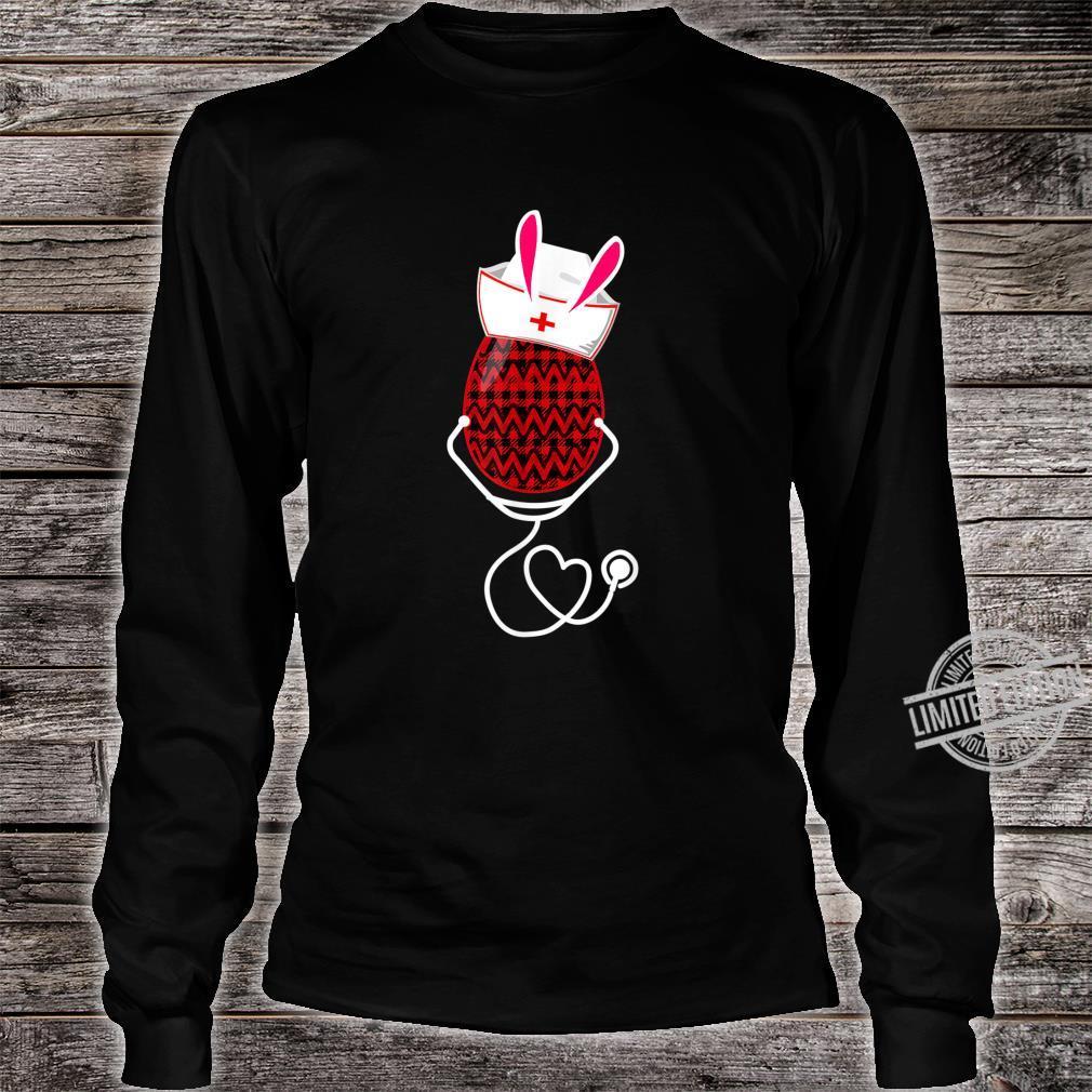 Stethoscope Nurse Easter Bunny Egg Red Plaid Costume Shirt long sleeved