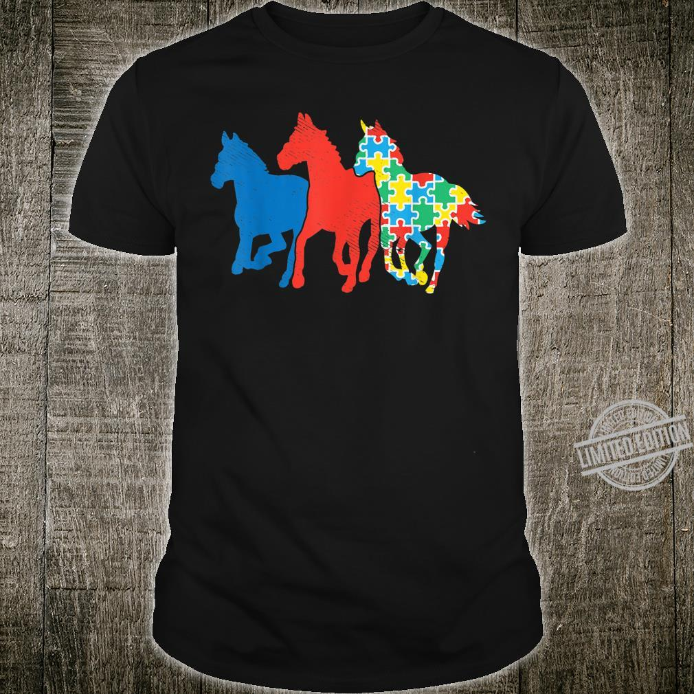 Three Horses Puzzle Red Blue Autism Awareness ASL Girls Boys Shirt