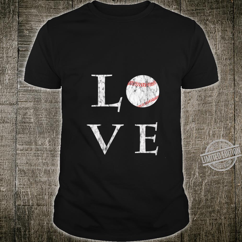 Womens I Love Baseball Cool Softball Love Vintage Shirt