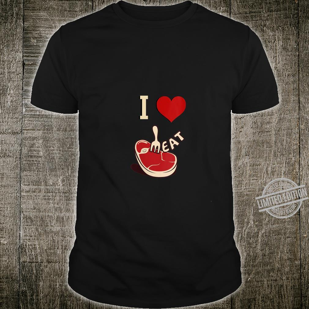 Womens I Love Steak Red Meat Barbecue Grilling Foodie Shirt