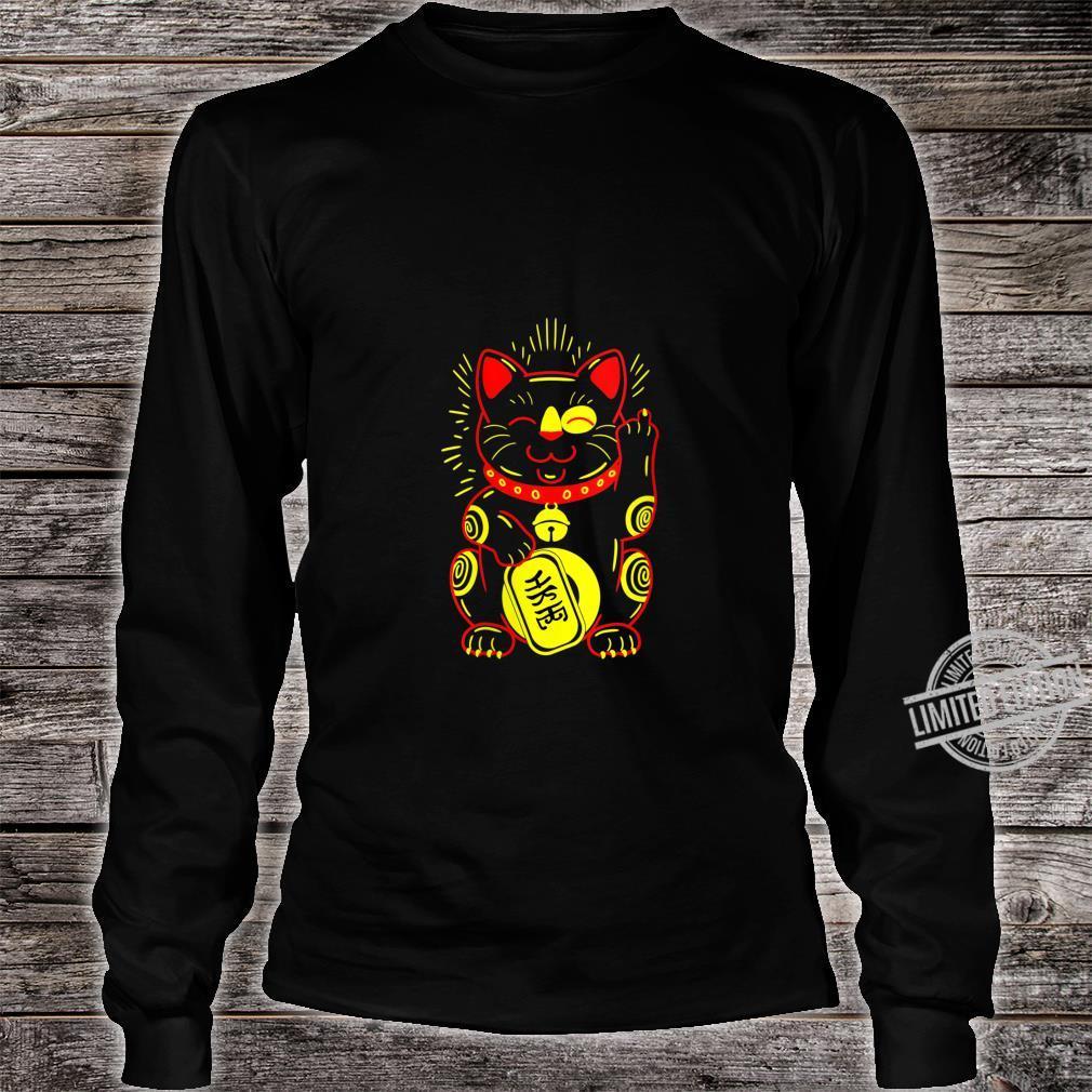 Womens Lucky Cat Bad Cute Maneki Neko Good Luck Charm Japanese Shirt long sleeved