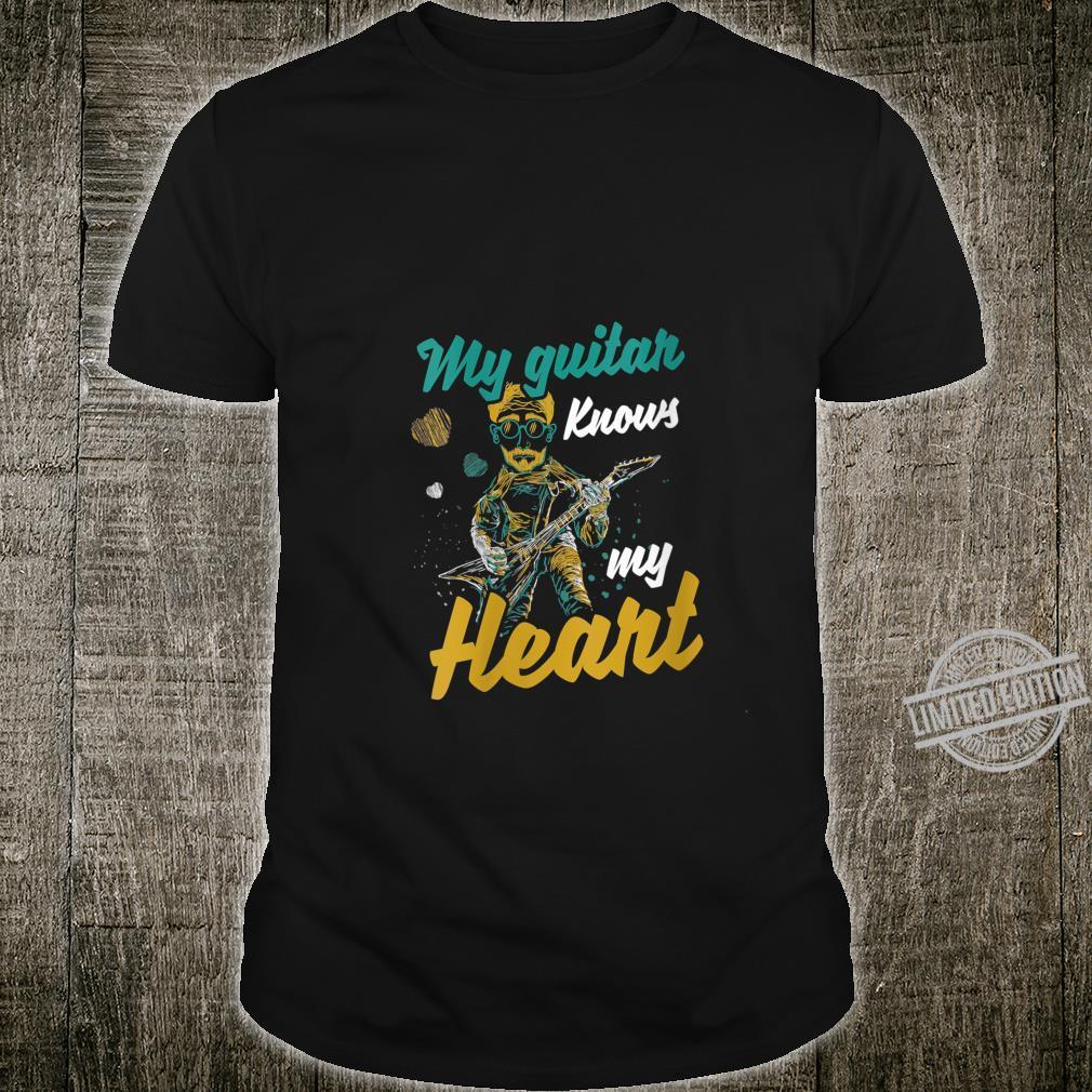 Womens My Guitar Knows My Heart Musics Guitarist Band Shirt
