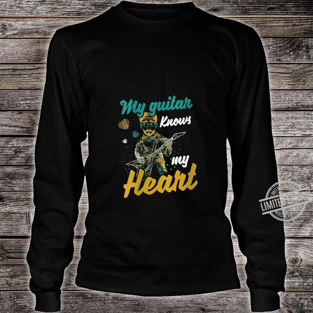 Womens My Guitar Knows My Heart Musics Guitarist Band Shirt long sleeved