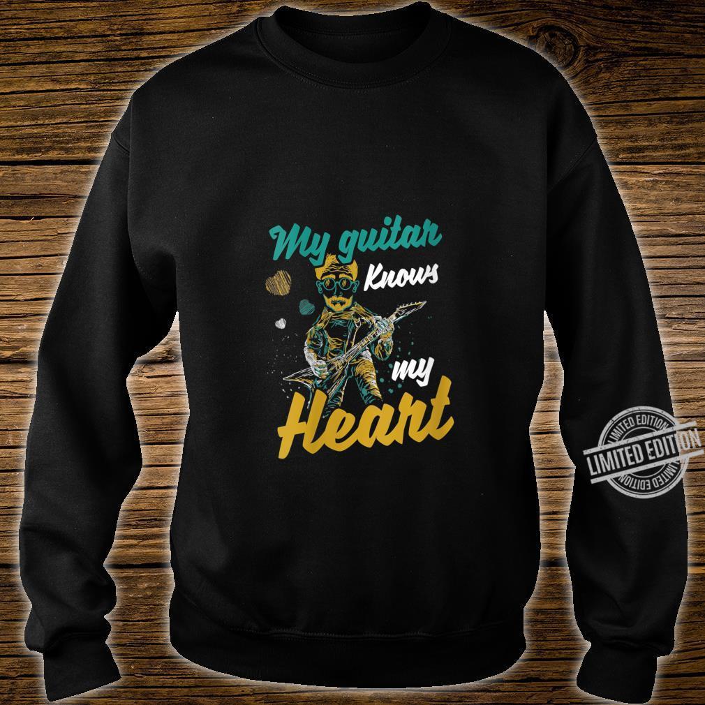 Womens My Guitar Knows My Heart Musics Guitarist Band Shirt sweater