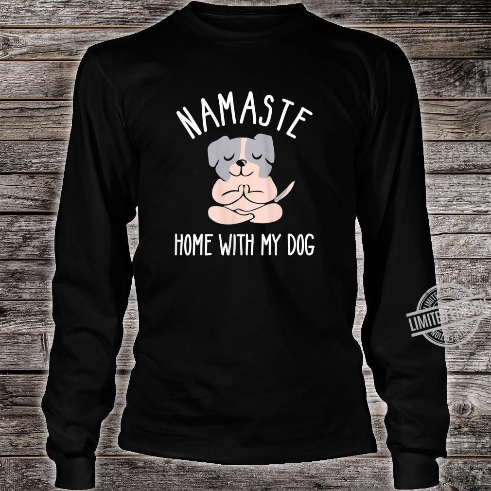 Womens Namastay Home with My Dog Shirt,Bulldog Dog Doing Yoga Shirt long sleeved
