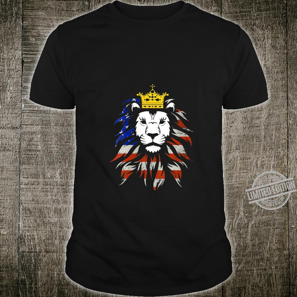 Womens Patriotic Flag Of America King Stylish American Lion Shirt