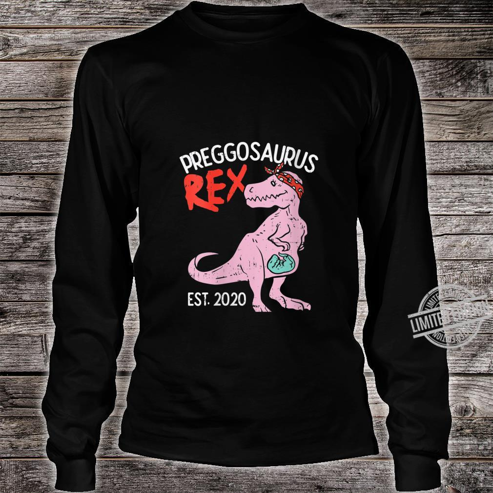 Womens Preggosaurus Rex Est 2020 TRex Pregnancy Announcement Shirt long sleeved