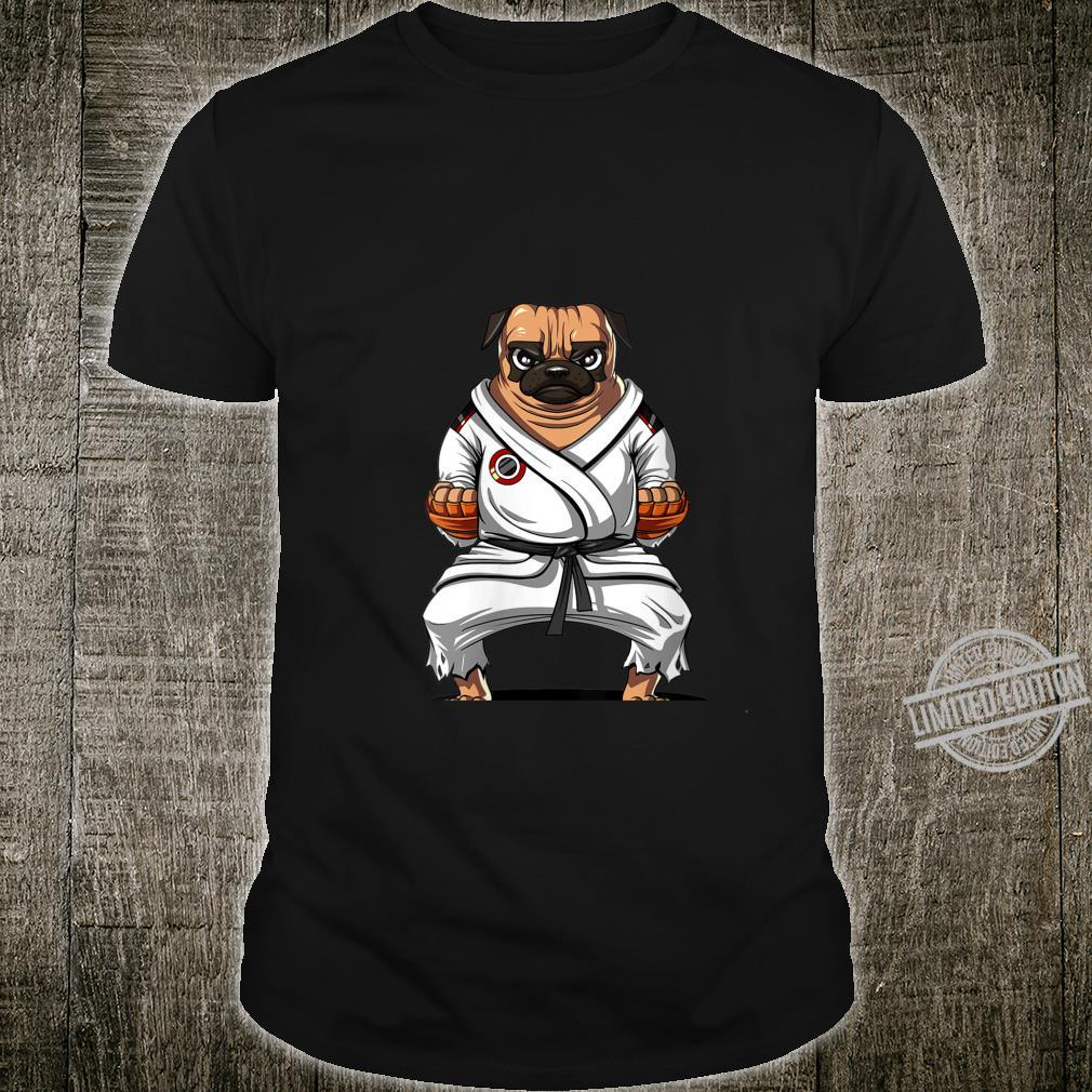 Womens Pug Dog Karate Ninja Martial Arts Kickboxing Jiu Jitsu Boys Shirt