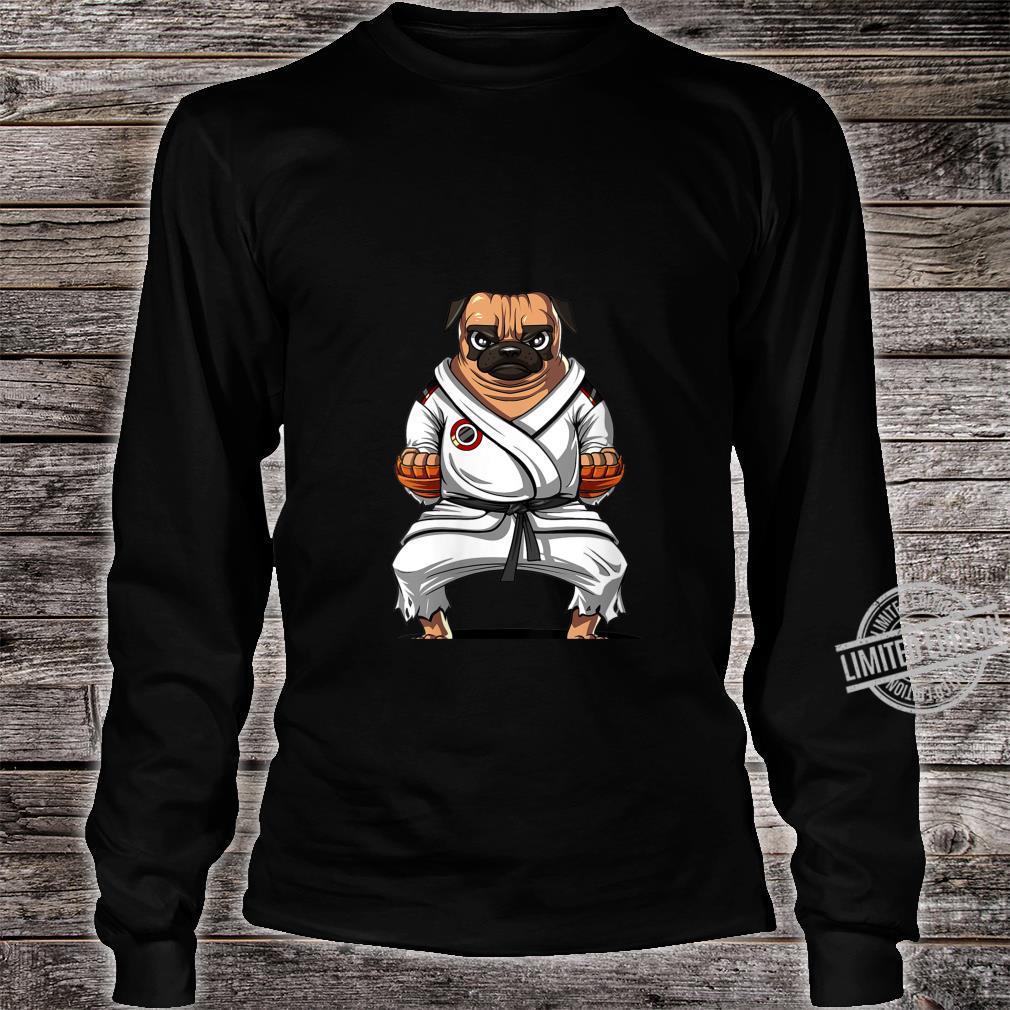 Womens Pug Dog Karate Ninja Martial Arts Kickboxing Jiu Jitsu Boys Shirt long sleeved